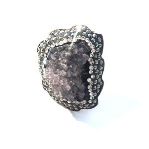 Amethyst and rhinestone ring. Adjustable size.